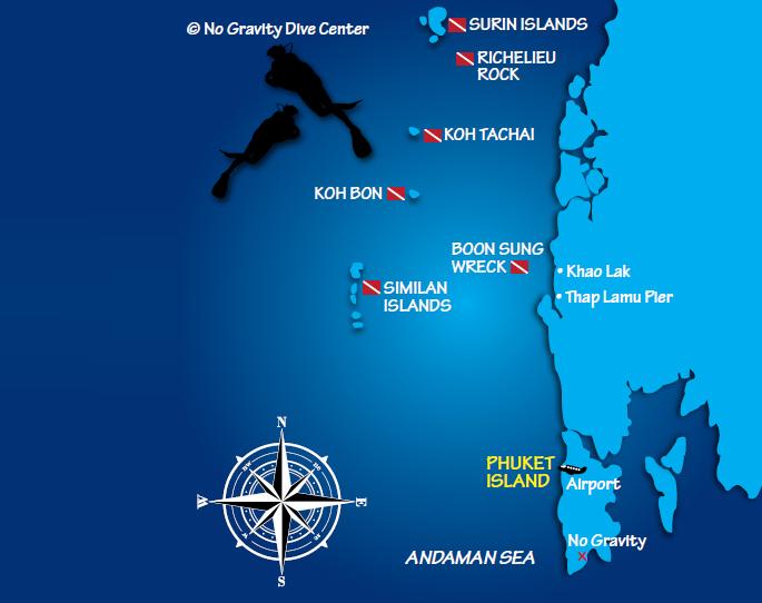 Similan szigetek és Surin térkép